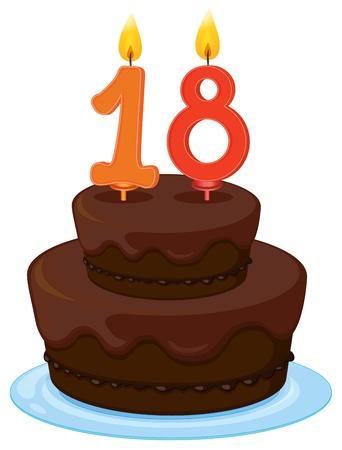 torta con candeline: illustrazione di una torta di compleanno su uno sfondo bianco