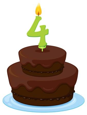 torta candeline: illustrazione di una torta di compleanno su uno sfondo bianco