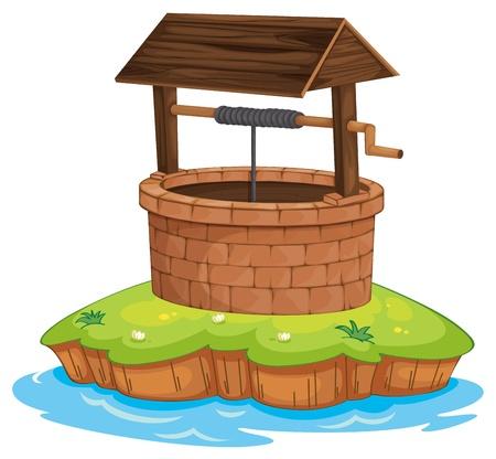 Ilustracja studni i wodą na białym tle