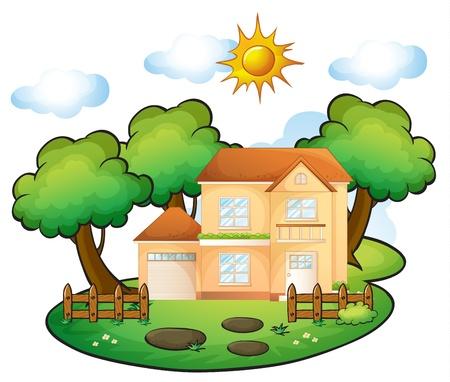 식물상: 아름다운 자연 속에서 집의 그림 일러스트