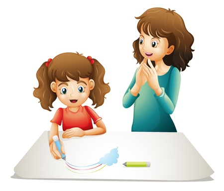 people clapping: illustration of mom and her kid on a white background