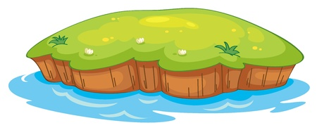 flowing river: illustration of a lawn and a water on a white background Illustration