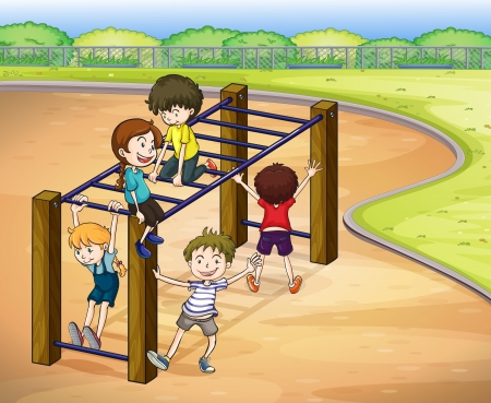 steel bar: illustration of kids playing game in a beautiful nature