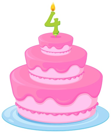 number candles: illustration of a birthday cake on a white background Illustration