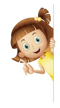 yellow hair: illustrazione di una ragazza su uno sfondo bianco Vettoriali