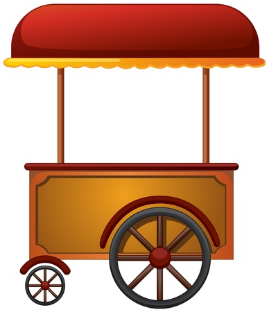dessert stand: illustration of a cart stall on a white background