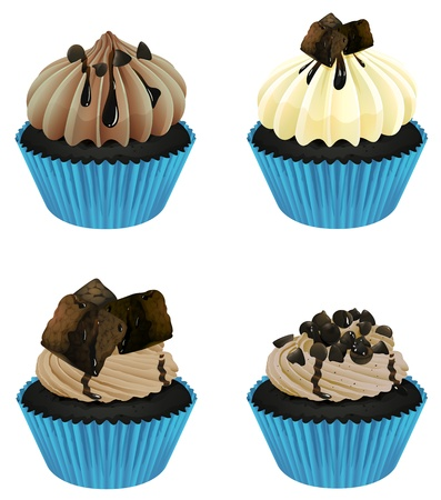 Illustration of an isolated cupcakes on a white background Vector