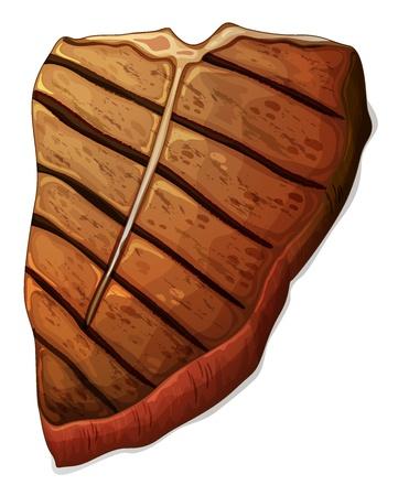 carne asada: Ilustraci�n de un filete en un fondo blanco