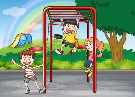 hanging woman: Illustrazione di bambini che giocano gioco in una natura bellissima Vettoriali