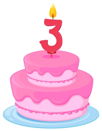 illustration of a birthday cake on a white background Vector