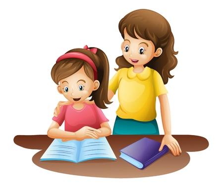 b�b� m�re: illustration de maman et enfant sur un fond blanc Illustration