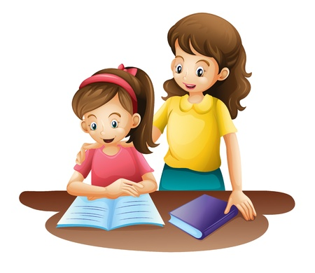 teaching children: illustration of mom and kid on a white background