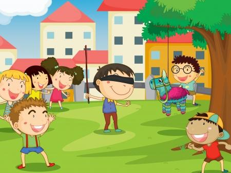 illustratie van kinderen spelen spelletjes in de natuur