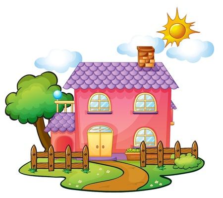 illustration herbe: illustration d'une maison dans une belle nature