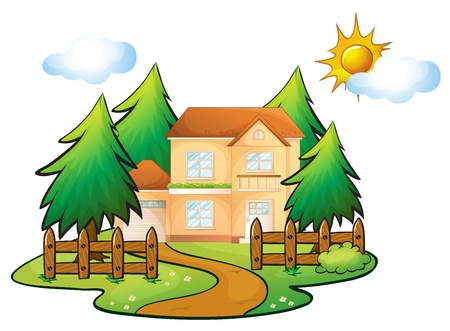 building materials: illustration of a house in a beautiful nature Illustration