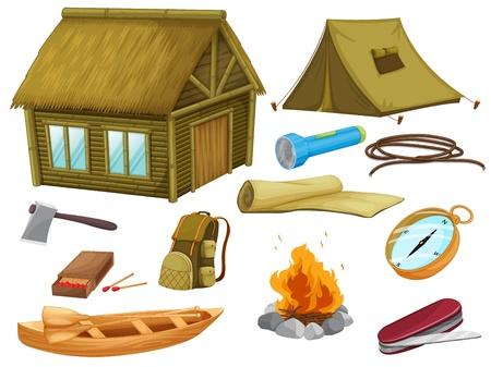 Ilustración de diversos objetos de acampada en un fondo blanco