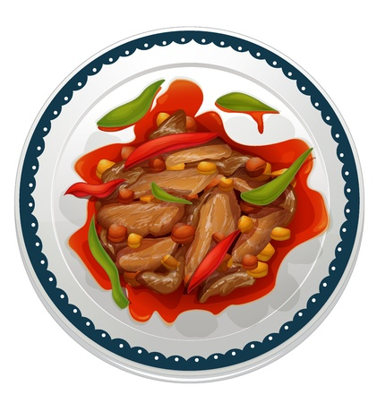 chicken dish: illustration of a chilli dip on a white background