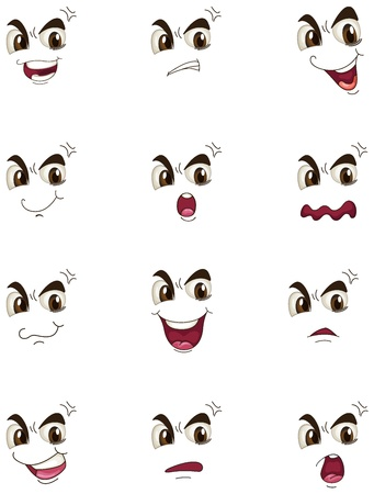 illustration of faces on a white background Vector