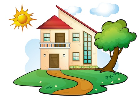 illustration of a house in a beautiful nature Stock Vector - 16319643