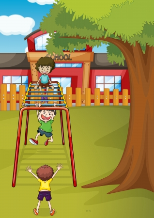 illustration of kids playing game in a beautiful nature Vector
