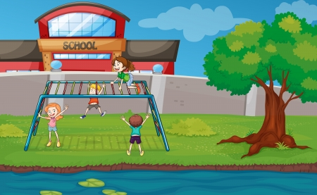 river water: illustration of kids playing game in a beautiful nature