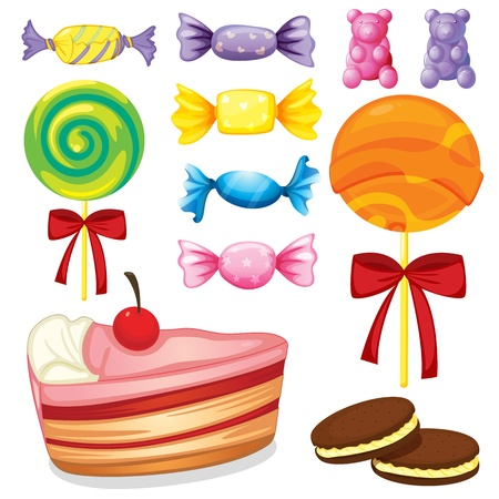 art piece: illustration of various sweets on a white background