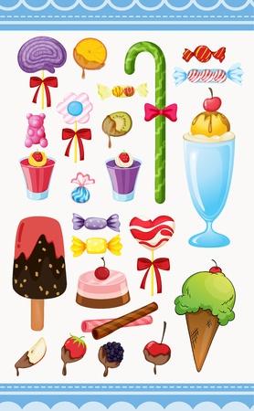 porcion de torta: Ilustraci�n de varios dulces sobre un fondo blanco