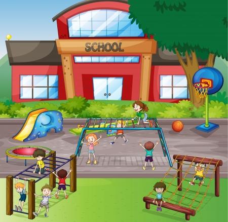 niños en area de juegos: ilustración de niños jugando en un juego de la hermosa naturaleza