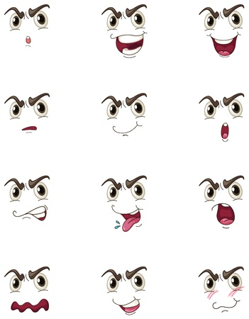 moods: illustration of faces on a white background
