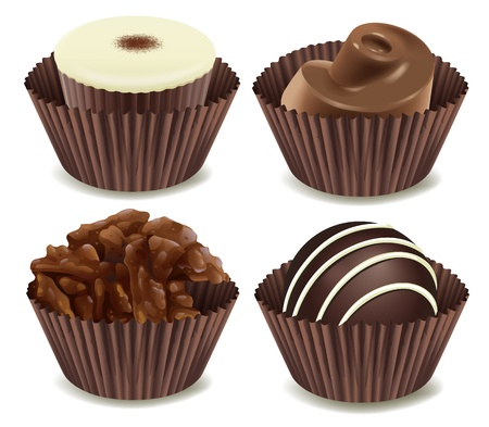 yum: illustration of chocolates in a cup on a white background