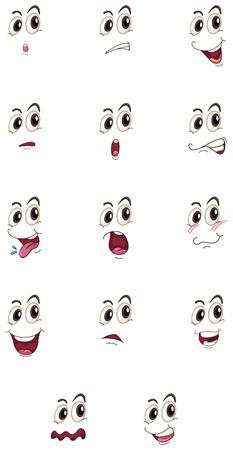 lachendes gesicht: Darstellung von Gesichtern auf einem wei�en Hintergrund