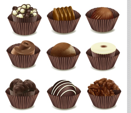 cute chocolate: illustration of chocolates in a cup on a white background