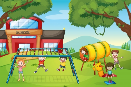 school kids: illustration of kids playing game in a beautiful nature