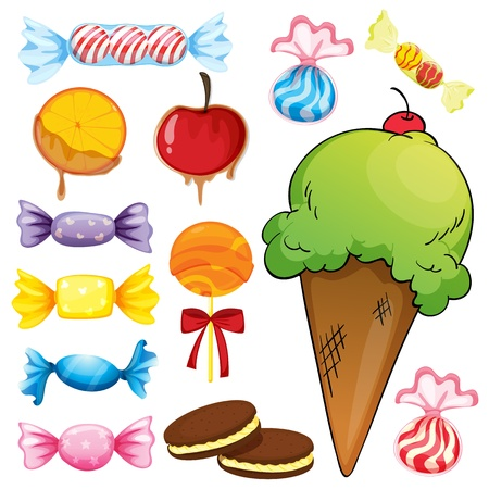 illustration of various sweets on a white background Vector