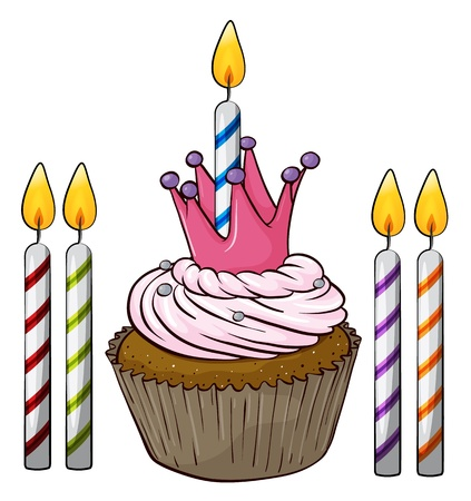 yum: Illustration of an isolated cupcake and candles on a white background Illustration
