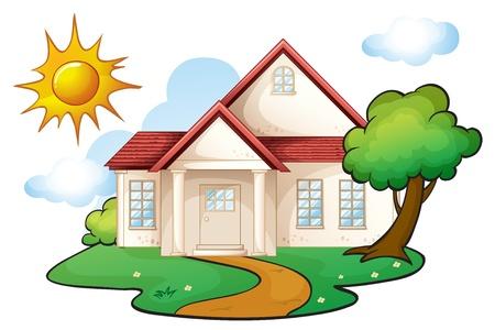 Ilustración de una casa en una hermosa naturaleza Foto de archivo - 16319641