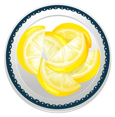 illustration of lemon slices on a white background Vector
