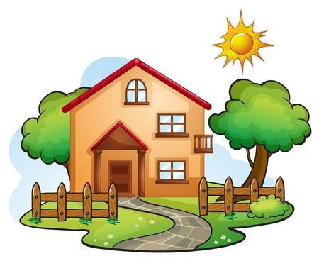 Abbildung eines Hauses in einer wunderschönen Natur
