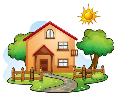 illustration of a house in a beautiful nature Stock Vector - 16319453