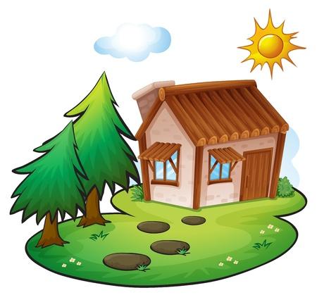 illustratie van een huis in een prachtige natuur Vector Illustratie