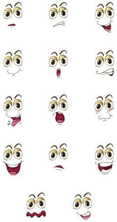 Ilustración de las caras en un fondo blanco