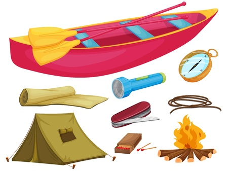camping equipment: illustration of various camping objects on a white background