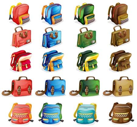 zaino: illustrazione di varie borse su uno sfondo bianco