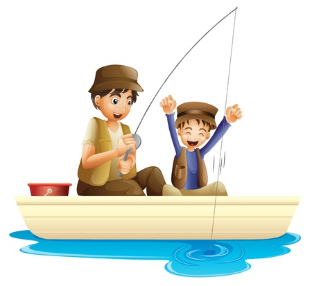 son of man: illustration of father and son fishing on a white background