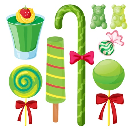 illustration of various sweets on a white background