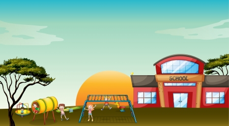 school playground: illustration of kids playing game in a beautiful nature