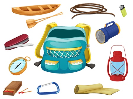 lighter: illustration of various camping objects on a white background