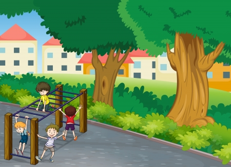 colony: illustration of kids playing game in a beautiful nature
