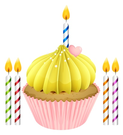 Illustration of an isolated cupcake and candles on a white background Vector