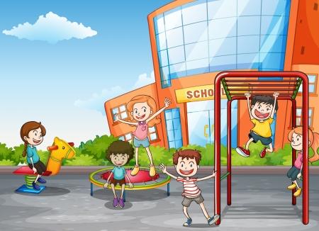 dessin enfants: illustration de gosses jouant le jeu dans une belle nature